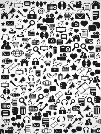 speech buble: the background of black Seamless web icons pattern on white Illustration