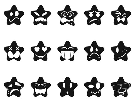 smileys: isolated black smileys stars set from white background