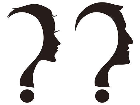 geïsoleerde man en vrouw gezicht met een vraagteken op een witte achtergrond