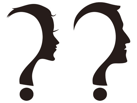 isolated man and woman face with question mark on white background Illustration