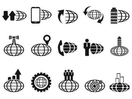 globális üzleti: elszigetelt fekete globális üzleti ikonok meg fehér háttér