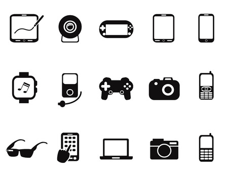 portable player: isolated Black Mobile Devices Icon set from white background