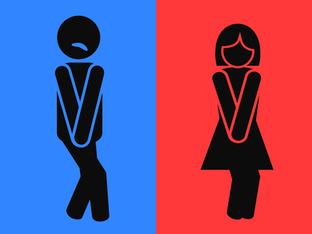 red sign: the funny design of wc restroom symbols