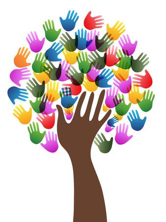 Geïsoleerde diversiteit kleurrijke handen boom achtergrond van een witte achtergrond