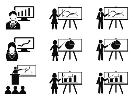 black business woman: isolated black Business lecture seminar meeting Presentation icons set from white background Illustration