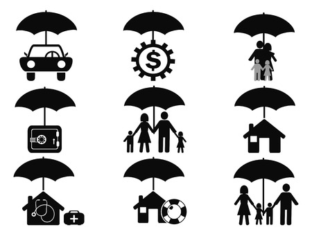 isolated black insurance icons set with umbrella from white background Vector