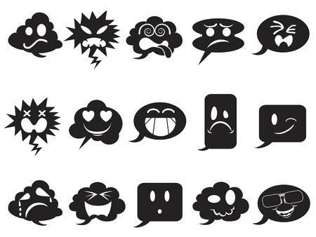 angry smiley face: isolated black speech bubble smileys icons from white background