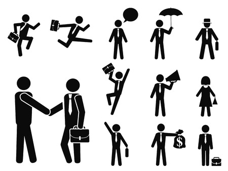 isolated businessman pictogram icons set from white background