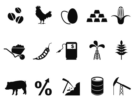 commodities: isolated commodities trading market icons set from white background