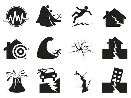 catastrophe: ic�nes du tremblement de terre noire isol�es pr�vues � partir fond blanc Illustration