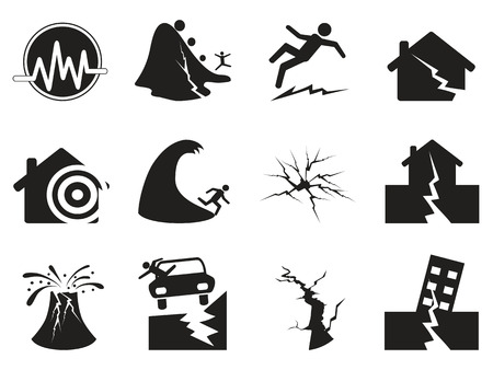 volcanos: isolated black earthquake icons set from white background