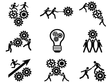 trabajo en equipo: hombres aislados en equipo engranajes iconos pictograma establecidos de fondo blanco