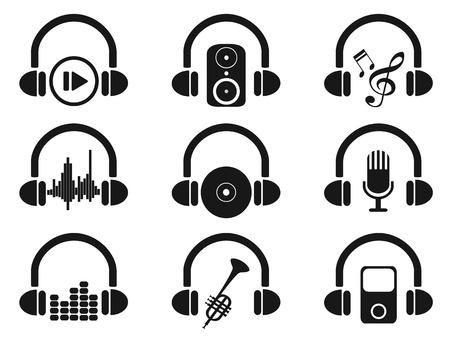 vinyl disk player: isolated black headphone with music icons set from white background