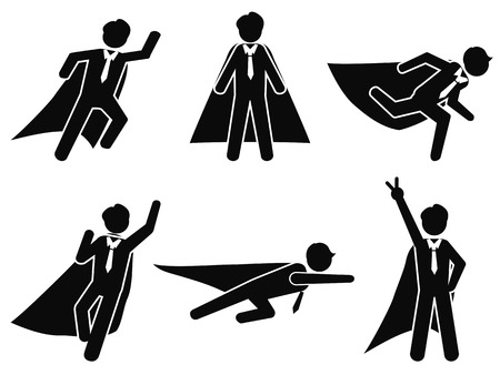 isolated super businessman stick figure pictogram illustration vector on whnite background
