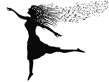 modern dancer: isolated a womans silhouette dancing with music note from white background