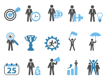 business metaphor: isolated business metaphor icons set blue series on white background