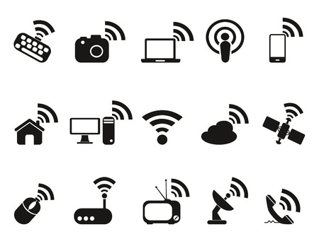 repeater: isolated black wireless technology icons set from white background