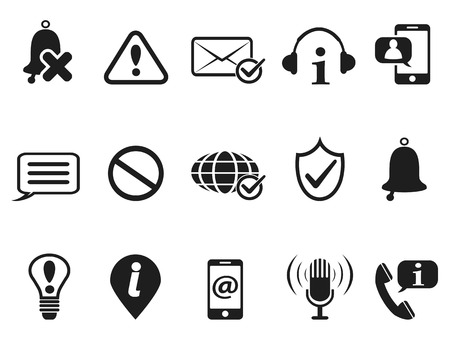 notification: isolated black notification and information icons set from white background