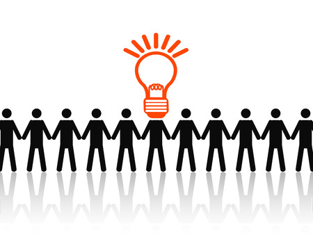 dea: the guy with the lightbulb head of dea stand out of people in a row Illustration