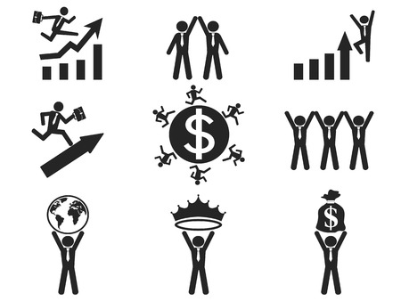 isolated successful businessman pictogram icons set from white background