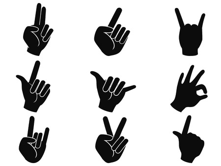 rock concert: isolated black rock and roll music hand sign icons from whjite background