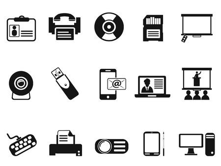digitized: aislados iconos de la tecnolog�a de oficina negro establecidos de fondo blanco