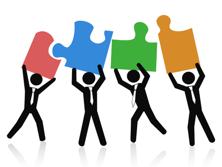 jigsaw puzzle pieces: isolated a Team of business people holding up jigsaw puzzle pieces on white background Illustration