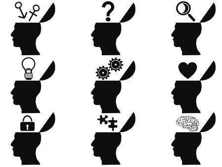 mente humana: aislado negro abiertas iconos cabeza humanos establecidos de fondo blanco