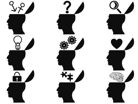 isolated black open human head icons set from white background Vettoriali