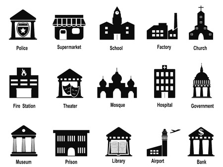 super market: isolated black government building icons set from white background