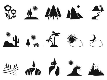casa de campo: aislado paisaje negro iconos Conjunto de fondo blanco