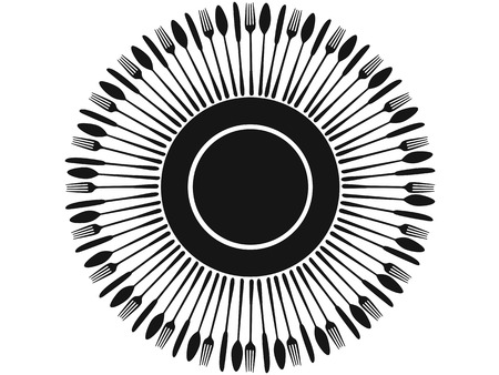 gastronomic: isolated black cutlery silhouettes around plate on white background for restaurant menu design Illustration
