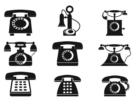 antique phone: isolated vintage telephone silhouettes on white background Illustration