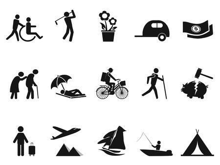 strichmännchen: isolierten schwarzen Ruhestand Leben Ikonen aus weißem Hintergrund Illustration