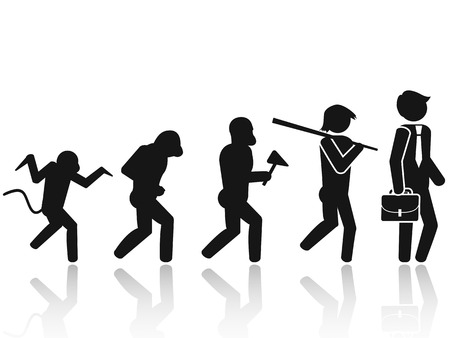 evolution: aislado Evoluci�n del hombre Stick Figure Pictograma de fondo blanco