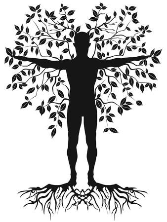 planta con raiz: árbol aislado humana negro de fondo blanco Vectores