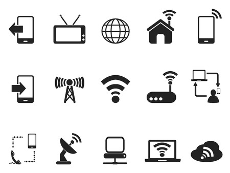 isolated black telecom icons set from white background