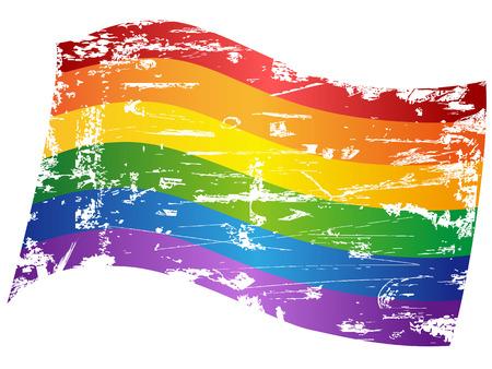 bandera gay: aislados grungy Bandera del orgullo gay del arco iris de fondo blanco