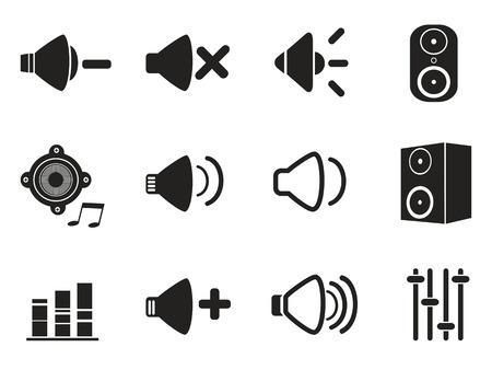 the noise: isolated black speaker icons set from white background Illustration