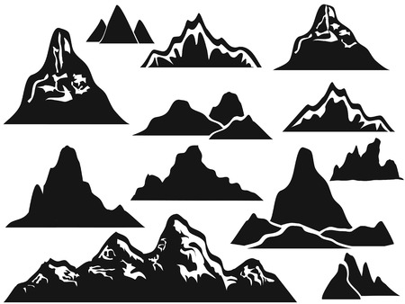 overlooking: isolated mountain silhouettes from white background