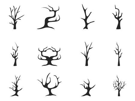 isolierten schwarzen toten Baum Ikonen aus weißem Hintergrund