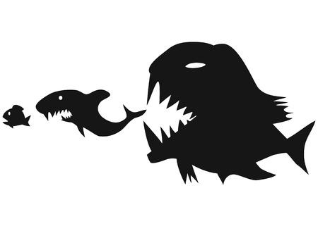 isolierten großen Fische essen kleine Fische auf weißem Hintergrund Vektorgrafik