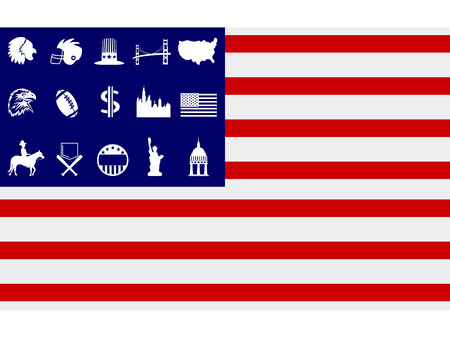 transitional: isolated creative american flag with american symbol icons on white background