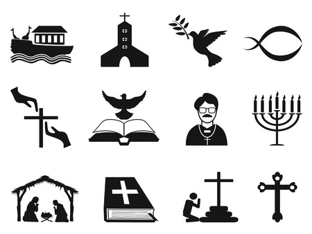 isolated black christian religious icons set from white background
