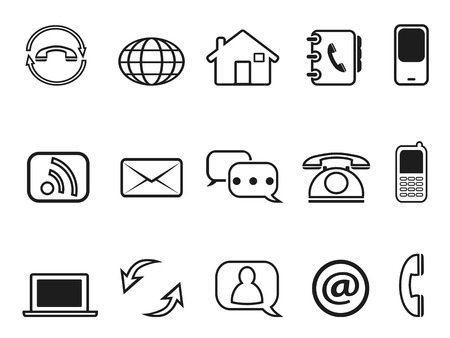 contact book: isolated contact outline icons set from white background
