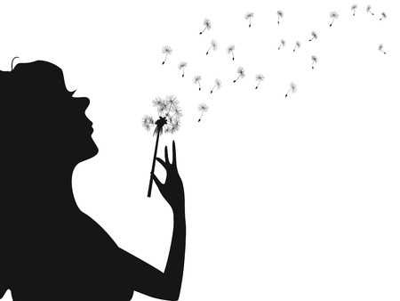 blowing dandelion: isolated silhouette of woman blowing dandelion from white background