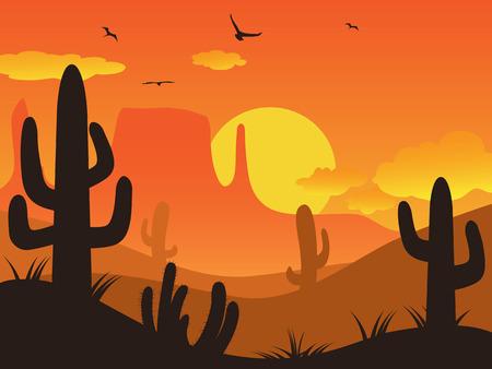 cactus desert: de cactus woestijn op zonsondergang op de achtergrond