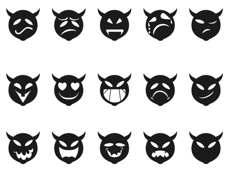 hades: isolated Devilish expressions smiley icons from white background