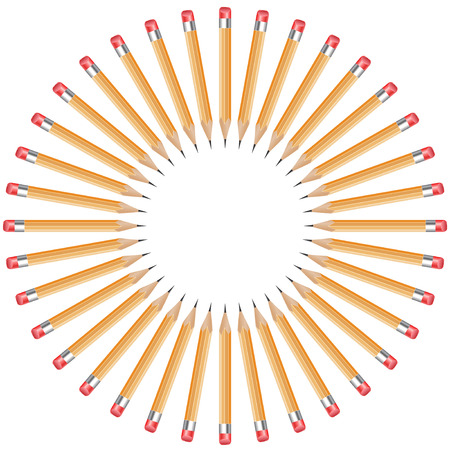 wooden circle: isolated pencils arranged in a circle with copy space from white background