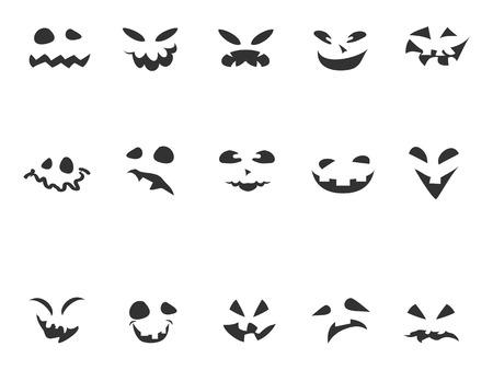 carving pumpkin: aislado garabato negro rostro tallado calabaza fij� en el fondo blanco